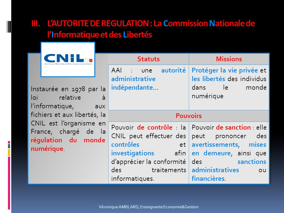 L'AUTORITE DE REGULATION : La Commission Nationale de l'Informatique et des Libertés