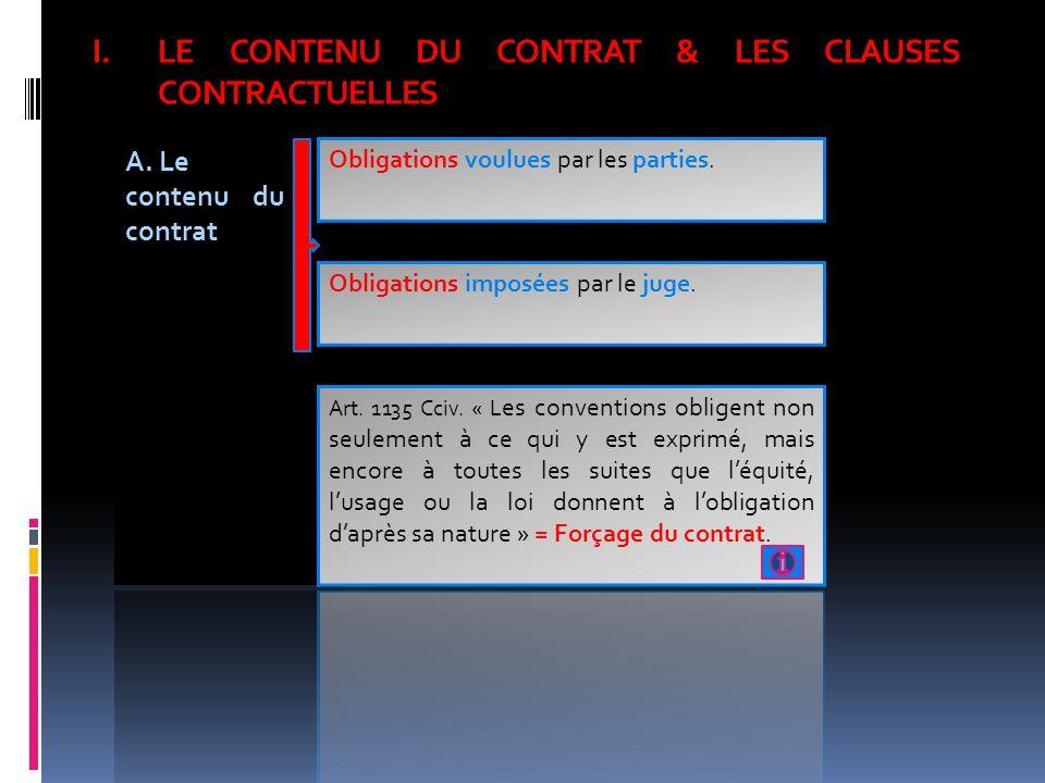 LE CONTENU DU CONTRAT & LES CLAUSES CONTRACTUELLES