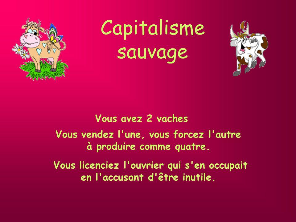 Capitalisme sauvage Vous vendez l une, vous forcez l autre
