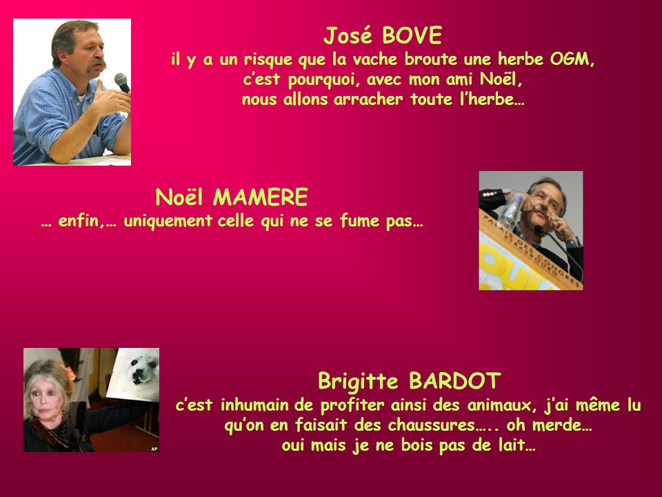 José BOVE Noël MAMERE Brigitte BARDOT