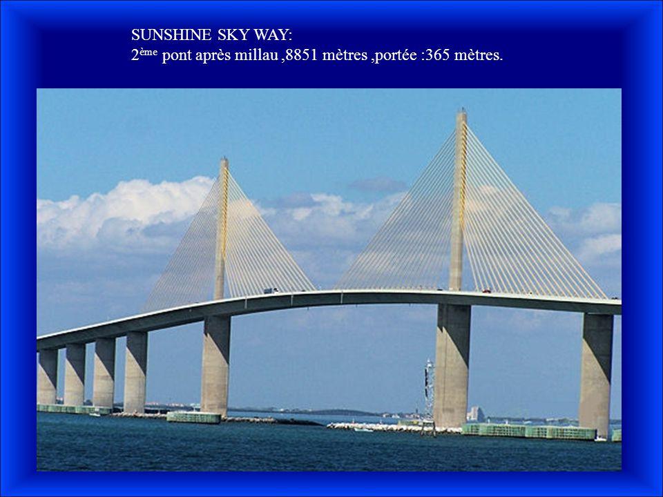 SUNSHINE SKY WAY: 2ème pont après millau ,8851 mètres ,portée :365 mètres.