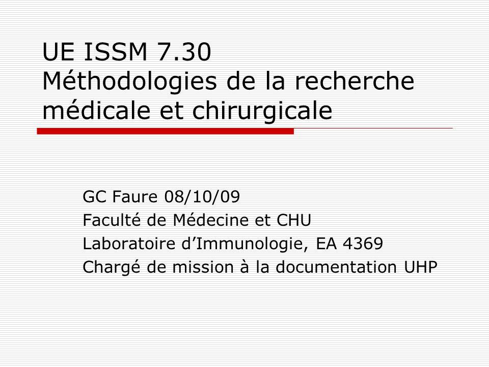 UE ISSM 7.30 Méthodologies de la recherche médicale et chirurgicale