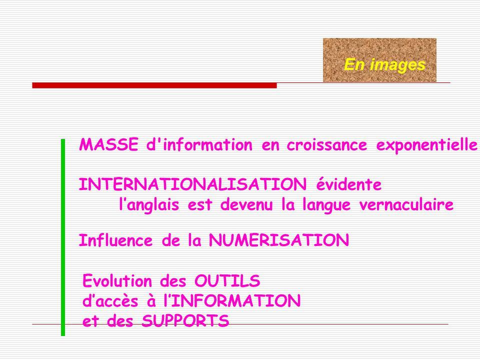 En images MASSE d information en croissance exponentielle. INTERNATIONALISATION évidente. l'anglais est devenu la langue vernaculaire.