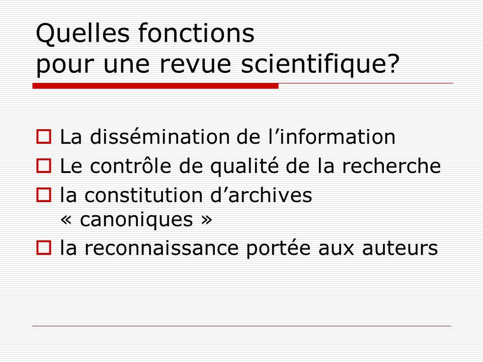 Quelles fonctions pour une revue scientifique