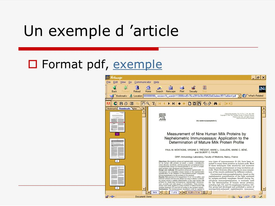 Un exemple d 'article Format pdf, exemple