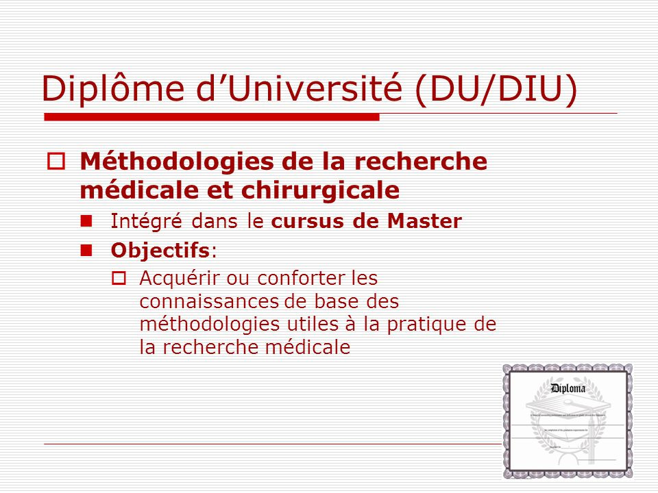 Diplôme d'Université (DU/DIU)