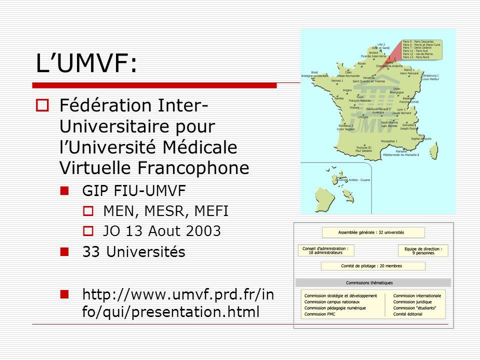 L'UMVF: Fédération Inter-Universitaire pour l'Université Médicale Virtuelle Francophone. GIP FIU-UMVF.