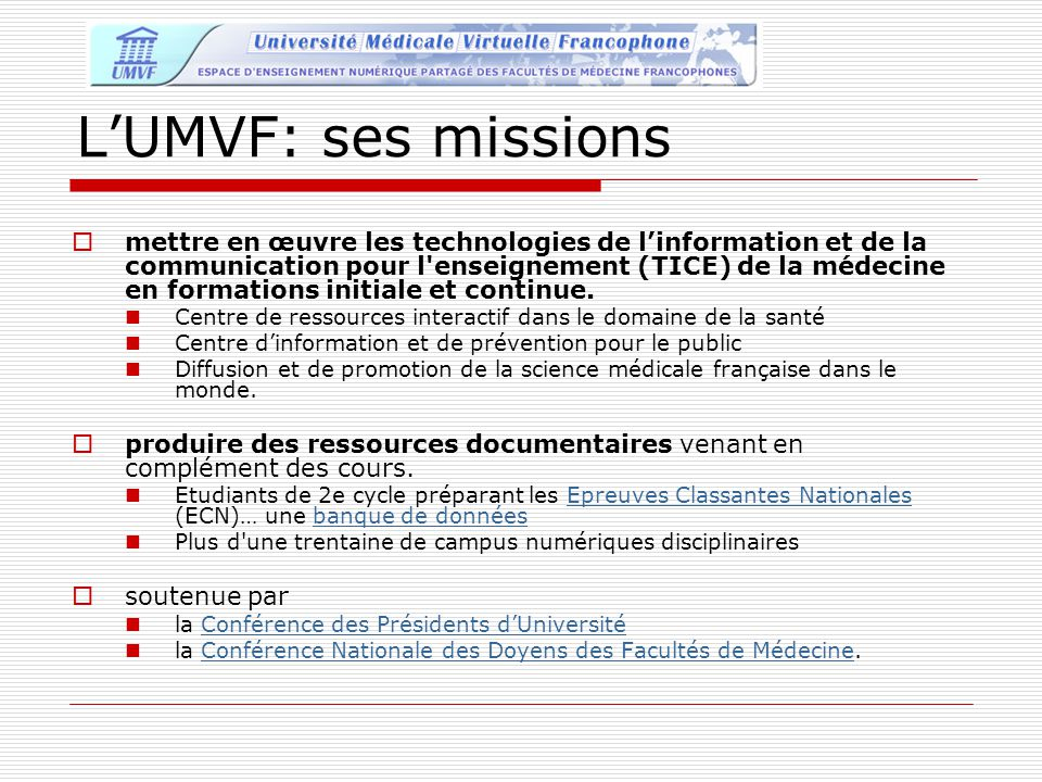 L'UMVF: ses missions