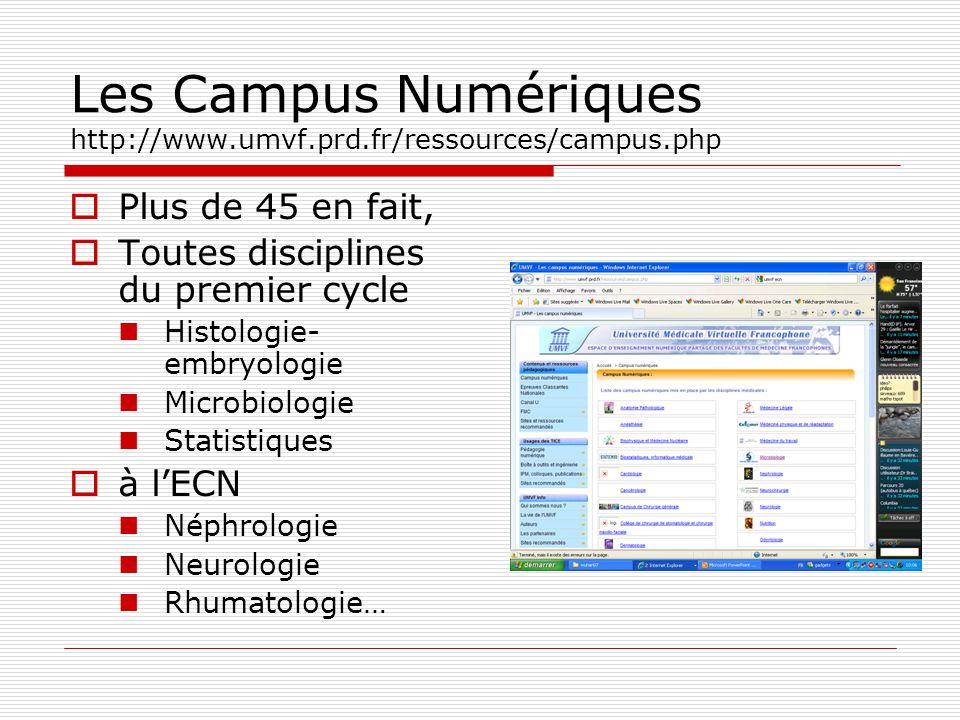 Les Campus Numériques http://www.umvf.prd.fr/ressources/campus.php
