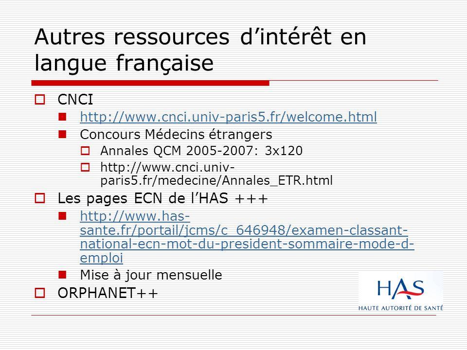 Autres ressources d'intérêt en langue française