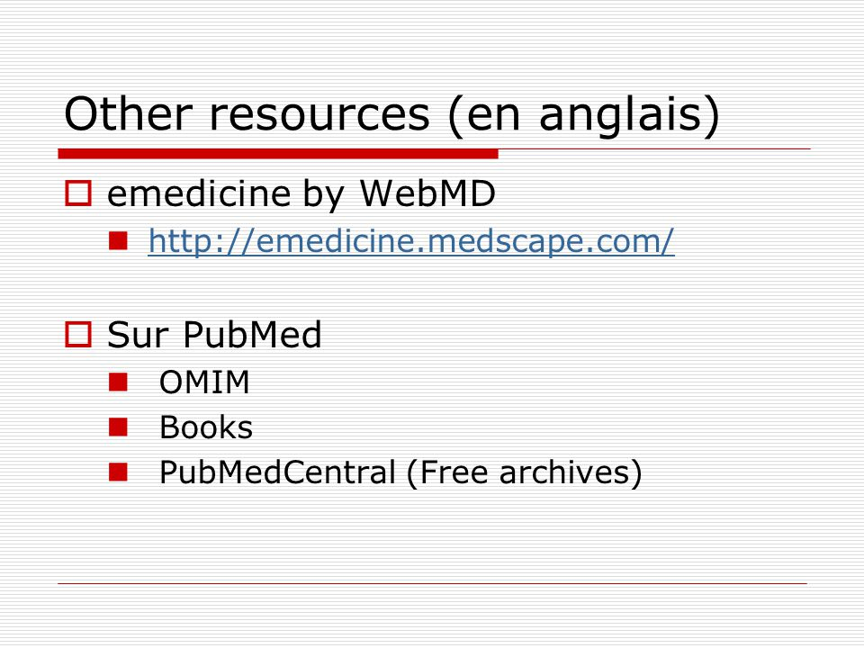 Other resources (en anglais)