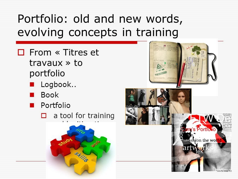 Portfolio: old and new words, evolving concepts in training