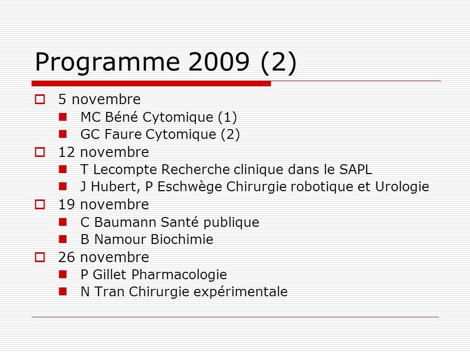 Programme 2009 (2) 5 novembre 12 novembre 19 novembre 26 novembre