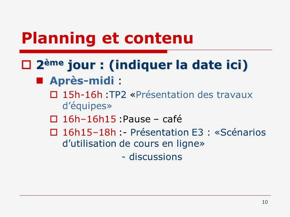 Planning et contenu 2ème jour : (indiquer la date ici) Après-midi :