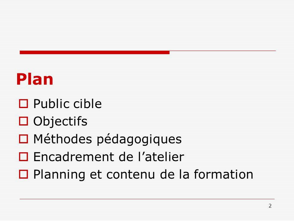 Plan Public cible Objectifs Méthodes pédagogiques