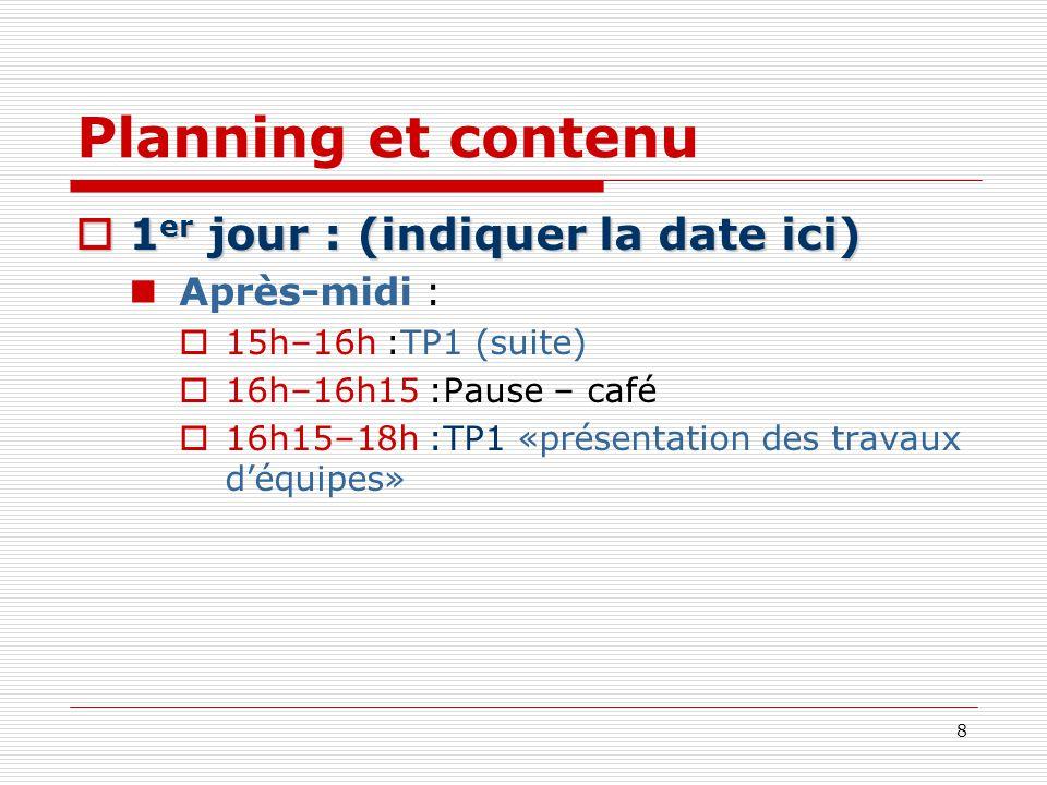 Planning et contenu 1er jour : (indiquer la date ici) Après-midi :
