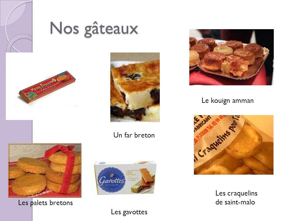 Nos gâteaux Le kouign amman Un far breton Les craquelins de saint-malo