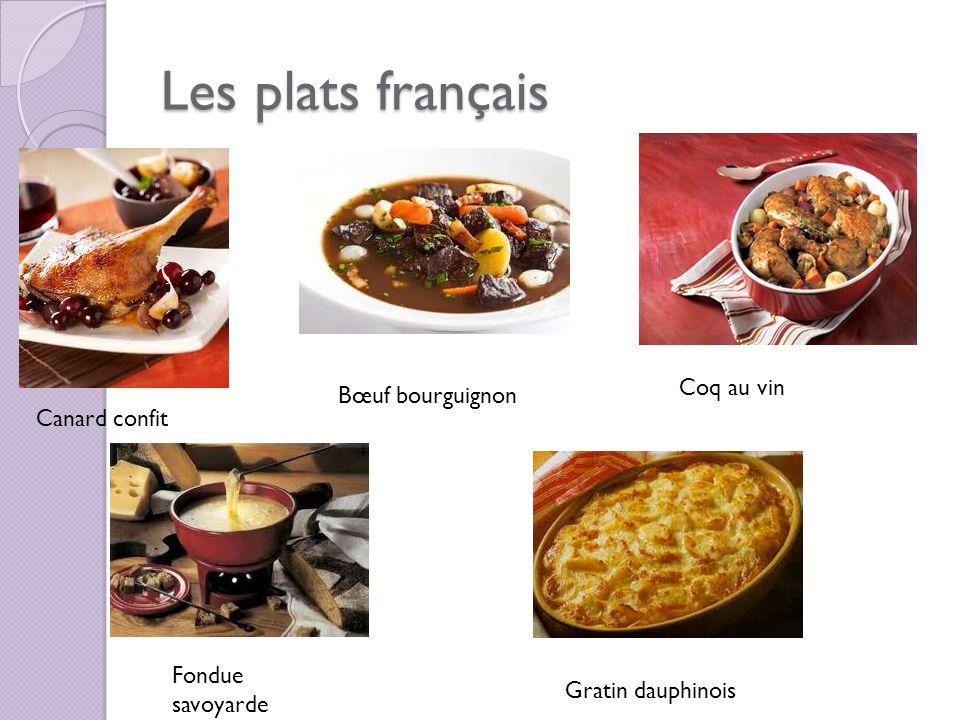 Les plats français Coq au vin Bœuf bourguignon Canard confit