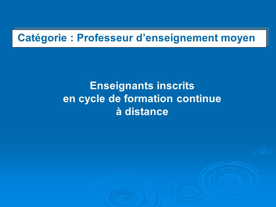 en cycle de formation continue