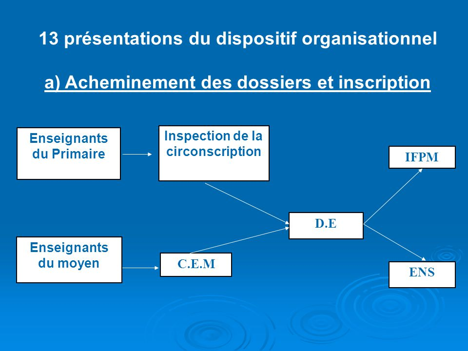 13 présentations du dispositif organisationnel