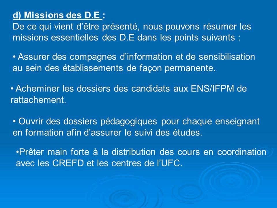 d) Missions des D.E : De ce qui vient d'être présenté, nous pouvons résumer les missions essentielles des D.E dans les points suivants :
