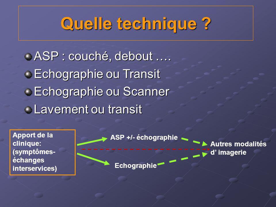 Quelle technique ASP : couché, debout …. Echographie ou Transit