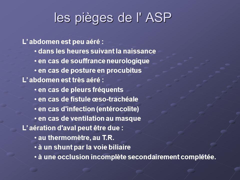 les pièges de l ASP L' abdomen est peu aéré :