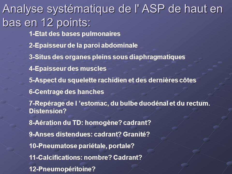 Analyse systématique de l ASP de haut en bas en 12 points:
