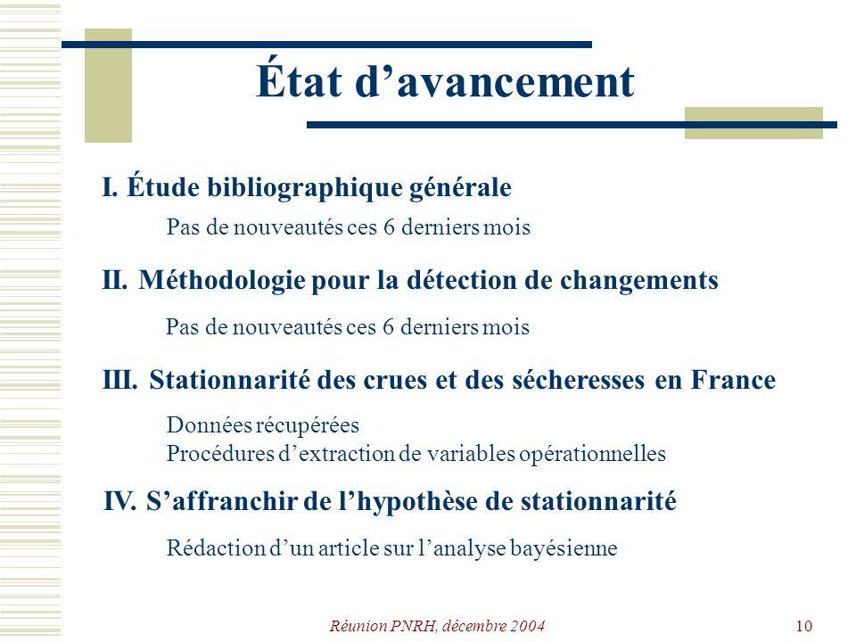 État d'avancement I. Étude bibliographique générale