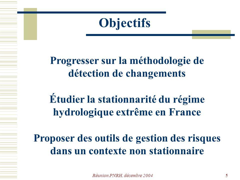 Objectifs Progresser sur la méthodologie de détection de changements