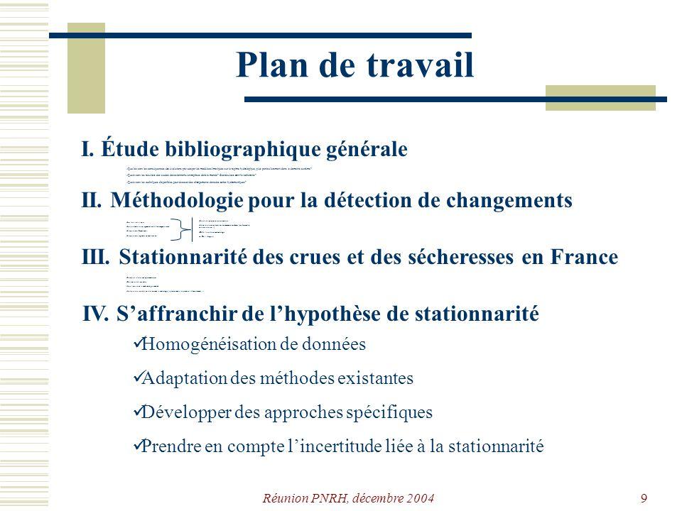 Plan de travail I. Étude bibliographique générale