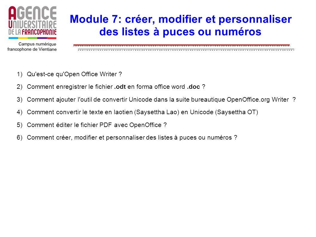 Module 7: créer, modifier et personnaliser des listes à puces ou numéros