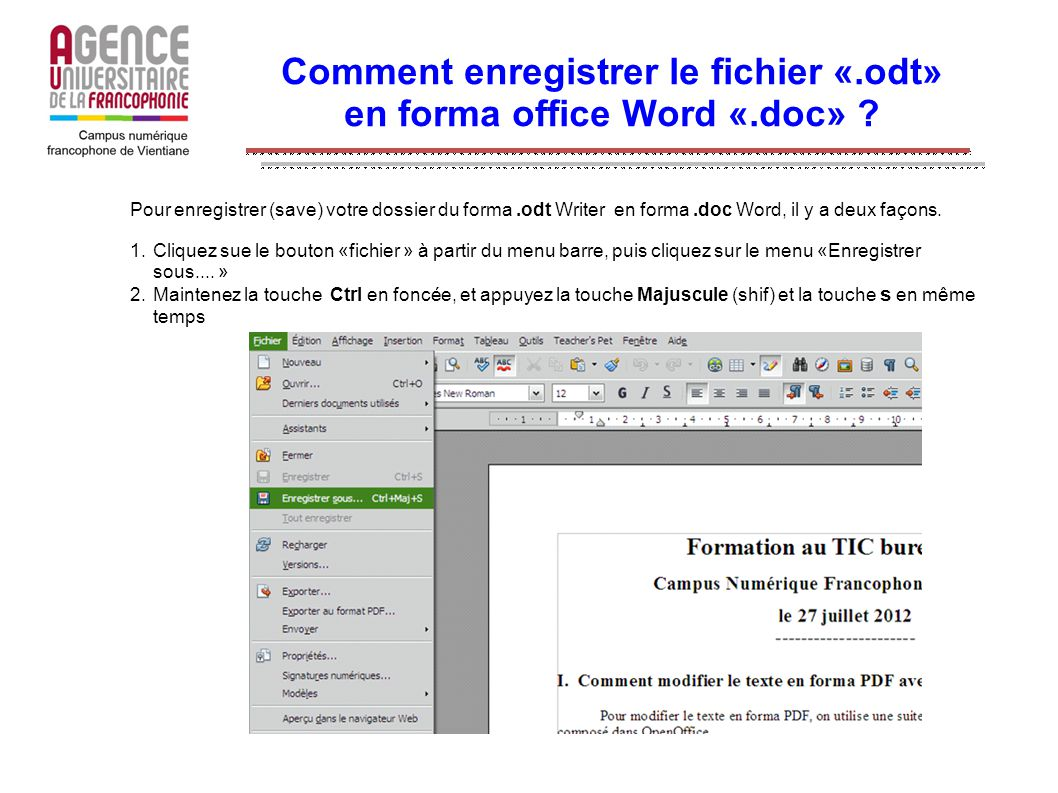 Comment enregistrer le fichier «.odt» en forma office Word «.doc»