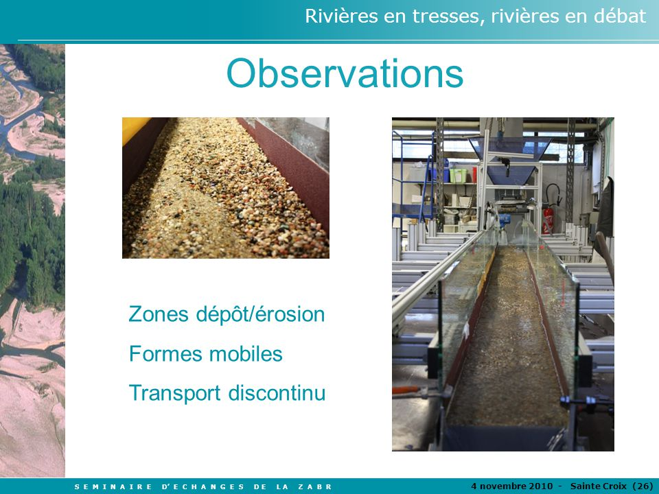 Observations Zones dépôt/érosion Formes mobiles Transport discontinu