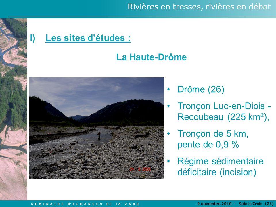 Les sites d'études : La Haute-Drôme. Drôme (26) Tronçon Luc-en-Diois -Recoubeau (225 km²), Tronçon de 5 km, pente de 0,9 %