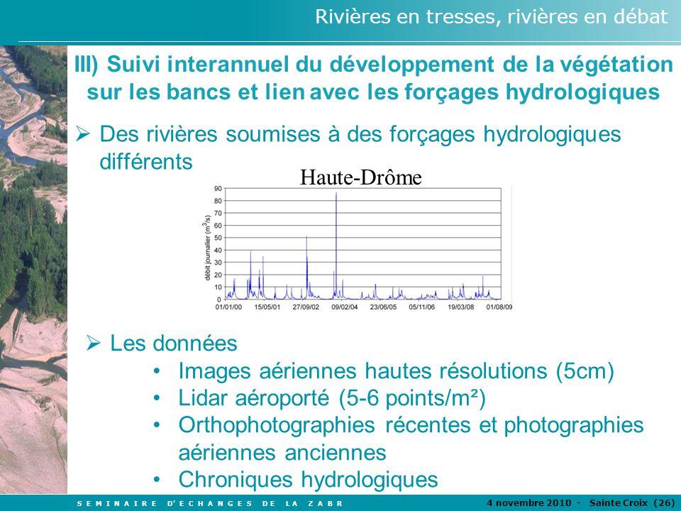 III) Suivi interannuel du développement de la végétation sur les bancs et lien avec les forçages hydrologiques