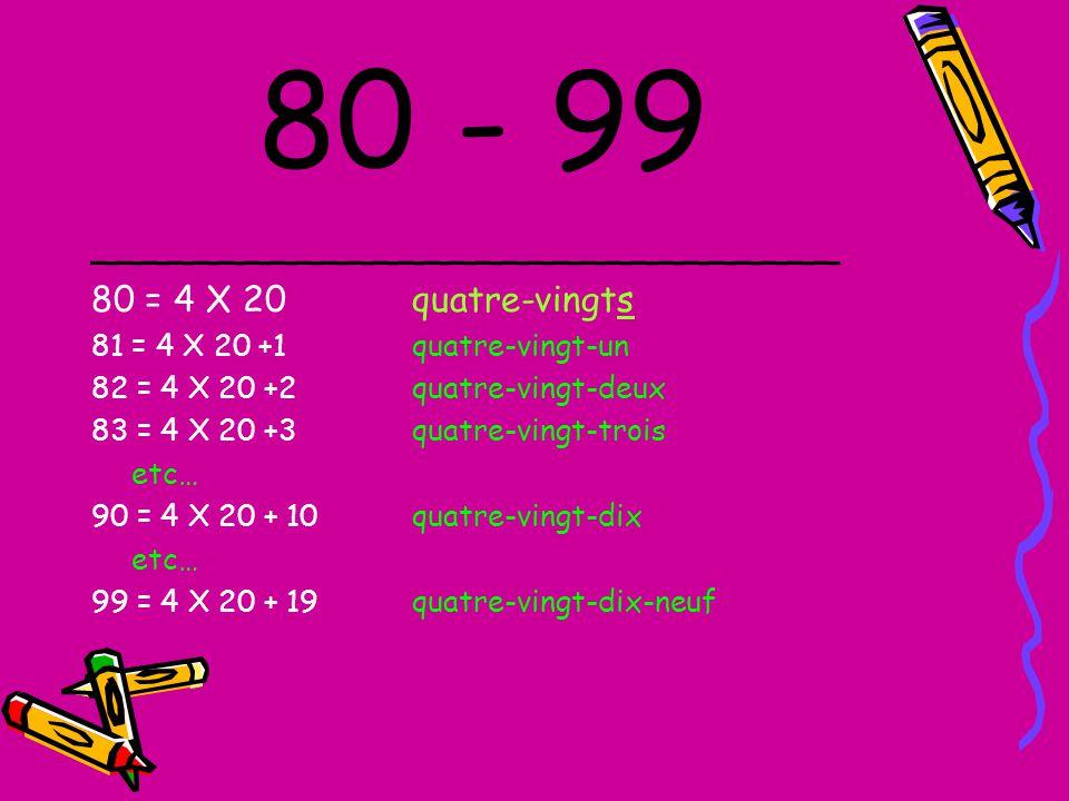 80 - 99 _____________________________ 80 = 4 X 20 quatre-vingts