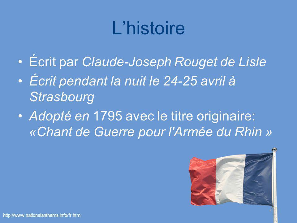 L'histoire Écrit par Claude-Joseph Rouget de Lisle