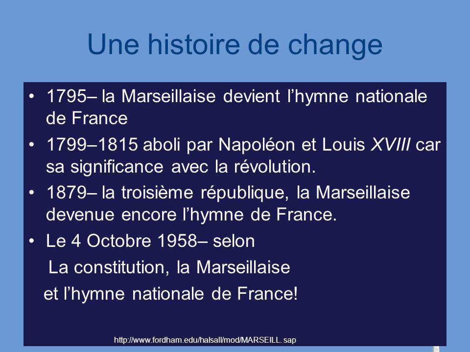 Une histoire de change 1795– la Marseillaise devient l'hymne nationale de France.
