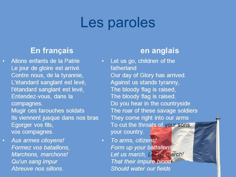 Les paroles En français en anglais