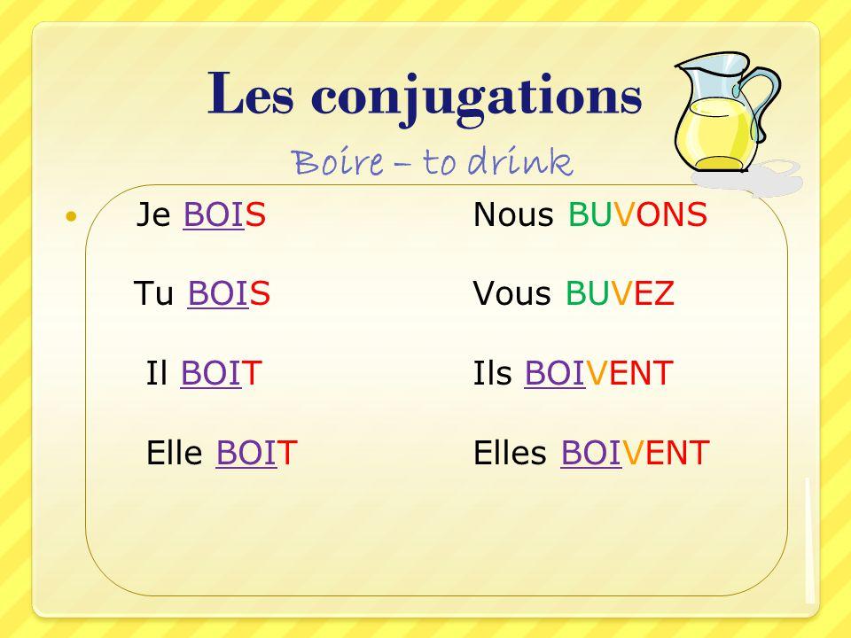 Les conjugations Boire – to drink Je BOIS Nous BUVONS
