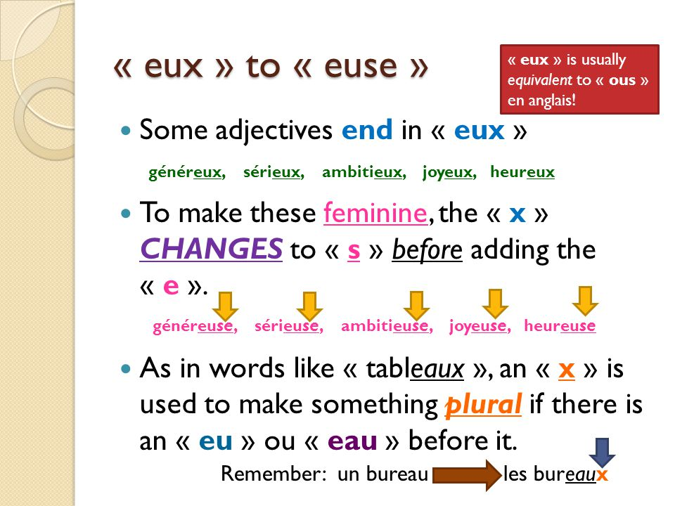 « eux » to « euse » Some adjectives end in « eux »