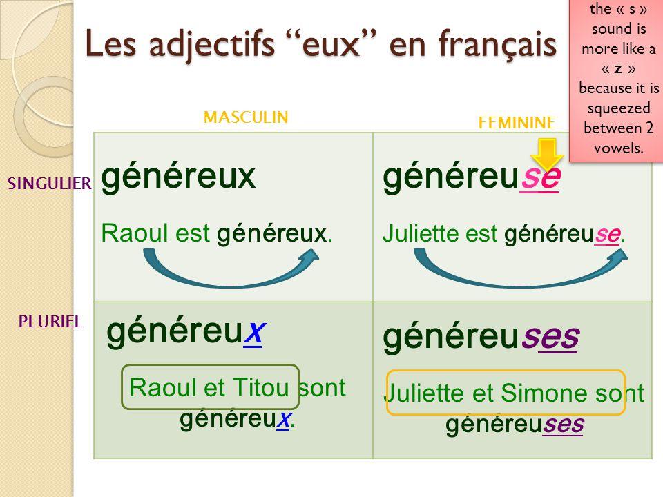Les adjectifs eux en français