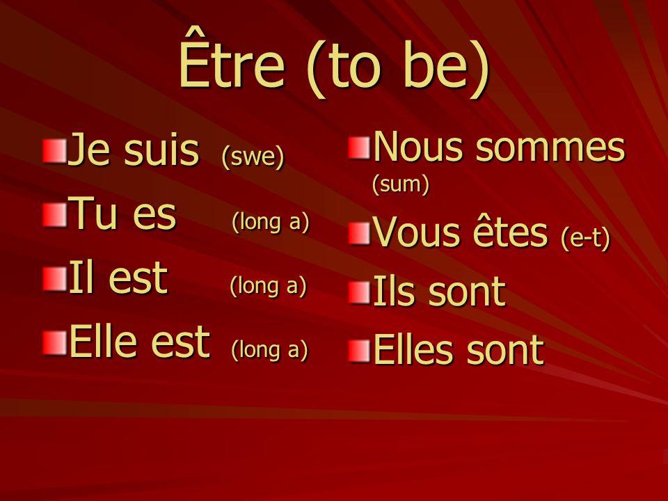 Être (to be) Je suis (swe) Tu es (long a) Il est (long a)
