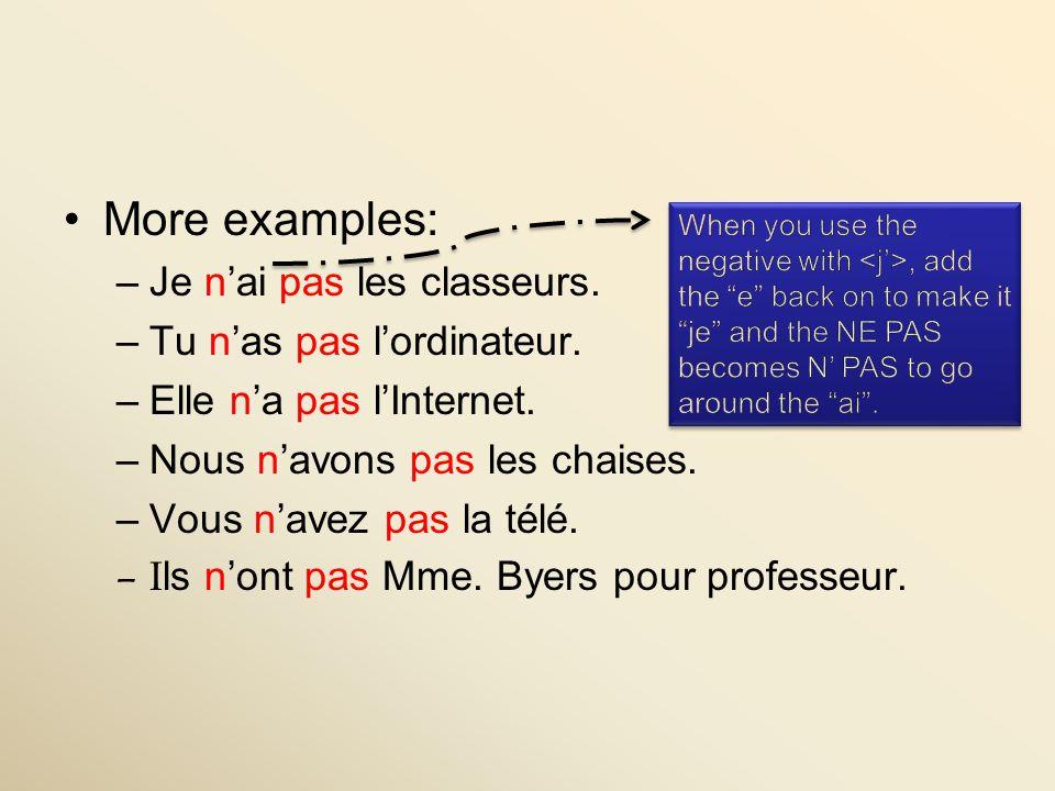 More examples: Je n'ai pas les classeurs. Tu n'as pas l'ordinateur.