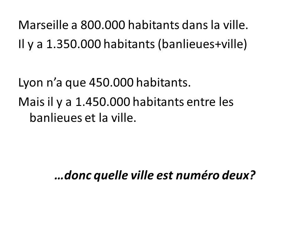 Marseille a 800. 000 habitants dans la ville. Il y a 1. 350
