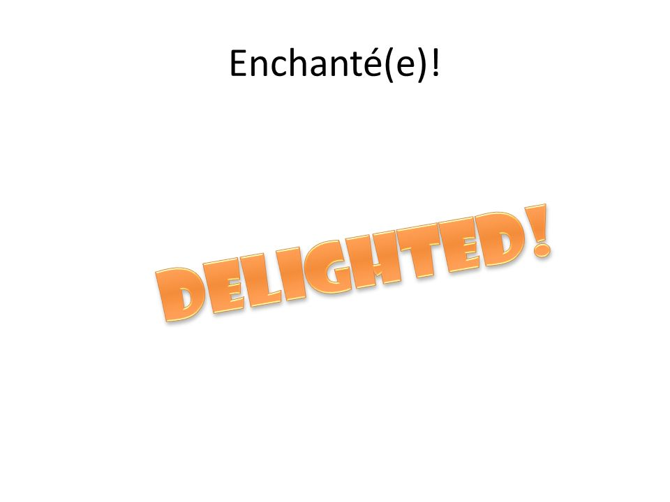 Enchanté(e)! Delighted!
