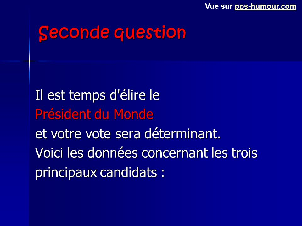 Seconde question Il est temps d élire le Président du Monde