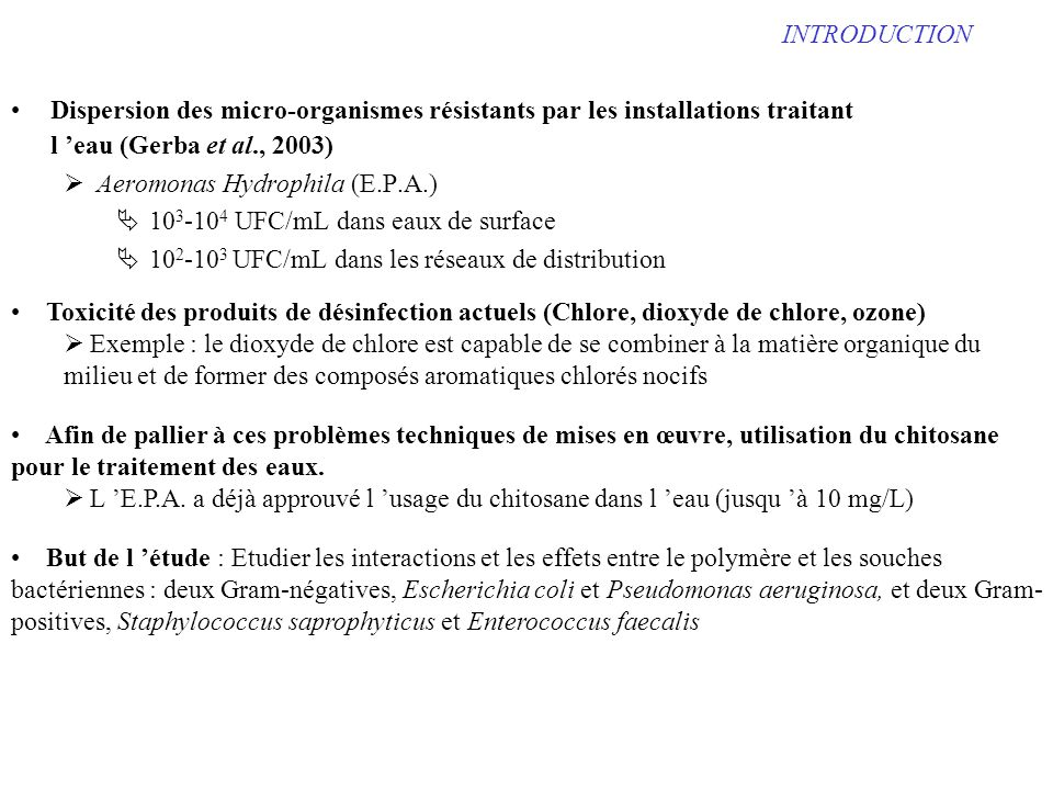 INTRODUCTION Dispersion des micro-organismes résistants par les installations traitant l 'eau (Gerba et al., 2003)