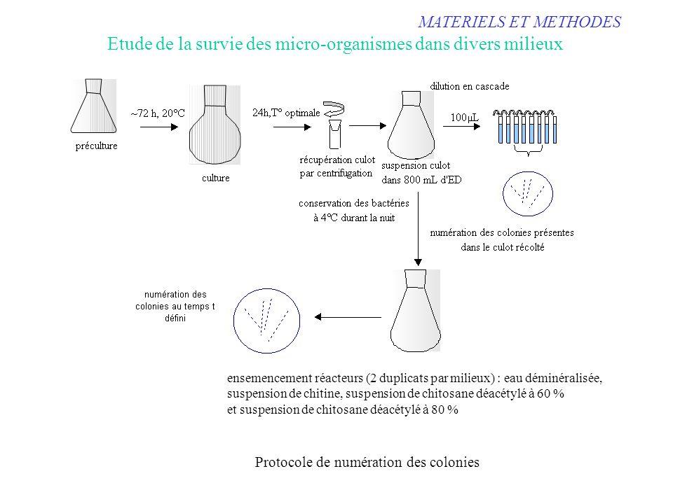 Etude de la survie des micro-organismes dans divers milieux